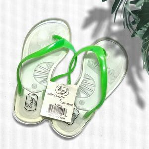 ⚡️ Clear Flip Flops with Lime Green Straps